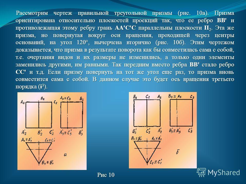 Симметрия вращения - это такое свойство геометрической фигуры, когда при повороте этой фигуры на угол a =360°/n около некоторой оси вращения она совместится со своим первоначальным положением (n - целое число; a - минимальный угол, на который нужно п