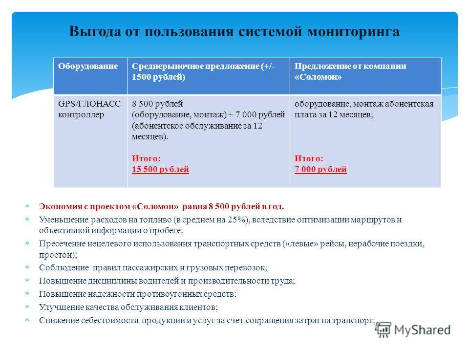 Выгода от пользования системой мониторинга Экономия с проектом «Соломон» равна 8 500 рублей в год. Уменьшение расходов на топливо (в среднем на 25%), вследствие оптимизации маршрутов и объективной информации о пробеге; Пресечение нецелевого использов