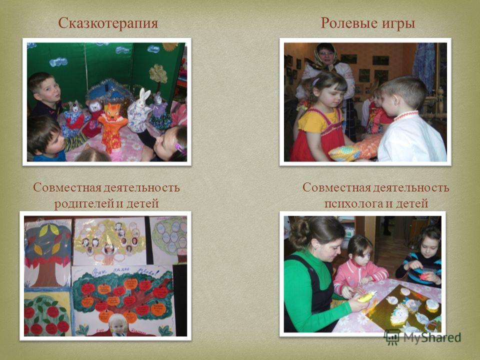 СказкотерапияРолевые игры Совместная деятельность родителей и детей Совместная деятельность психолога и детей