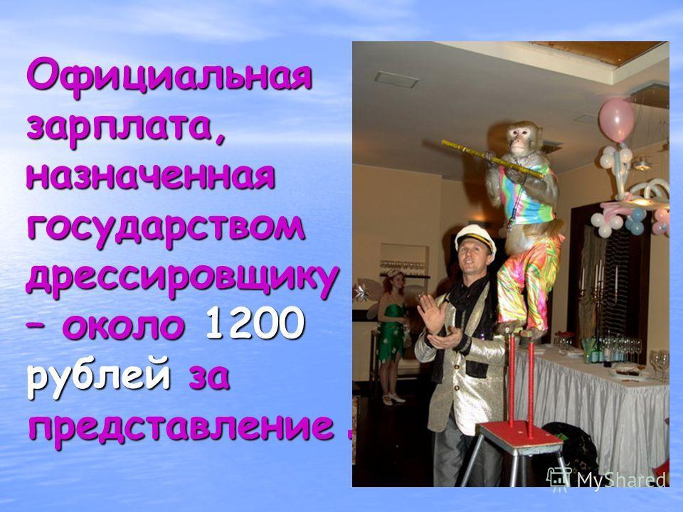 Официальная зарплата, назначенная государством дрессировщику – около 1200 рублей за представление.