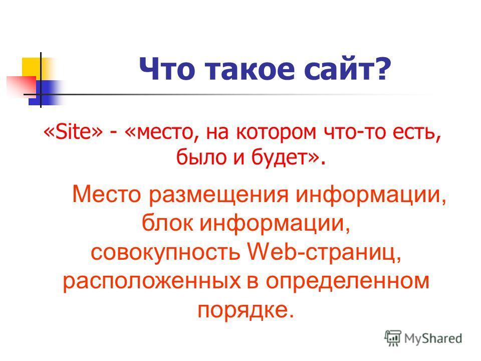 Что такое сайт? «Site» - «место, на котором что-то есть, было и будет». Место размещения информации, блок информации, совокупность Web-страниц, расположенных в определенном порядке.