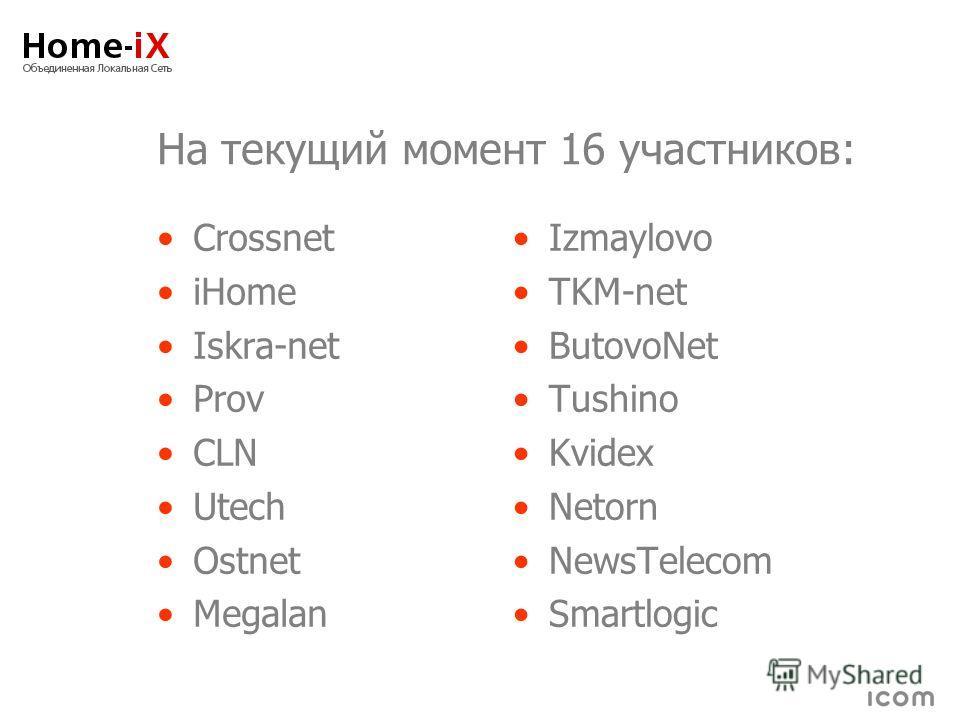 На текущий момент 16 участников: Crossnet iHome Iskra-net Prov CLN Utech Ostnet Megalan Izmaylovo TKM-net ButovoNet Tushino Kvidex Netorn NewsTelecom Smartlogic