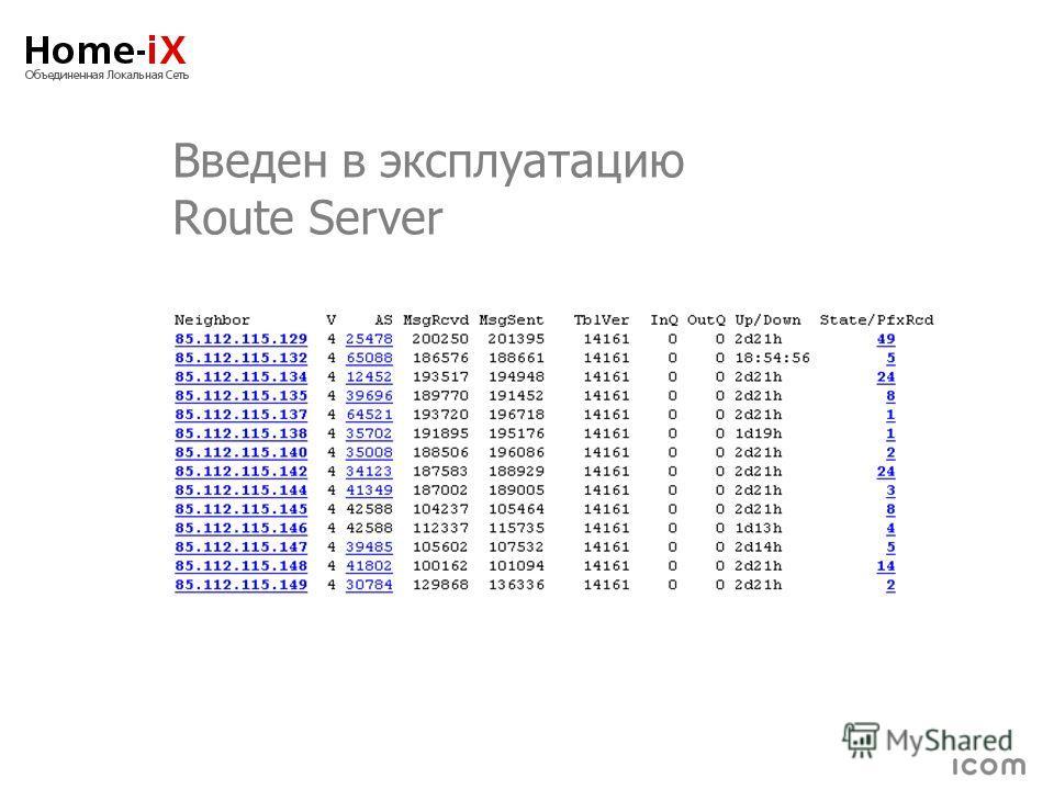 Введен в эксплуатацию Route Server