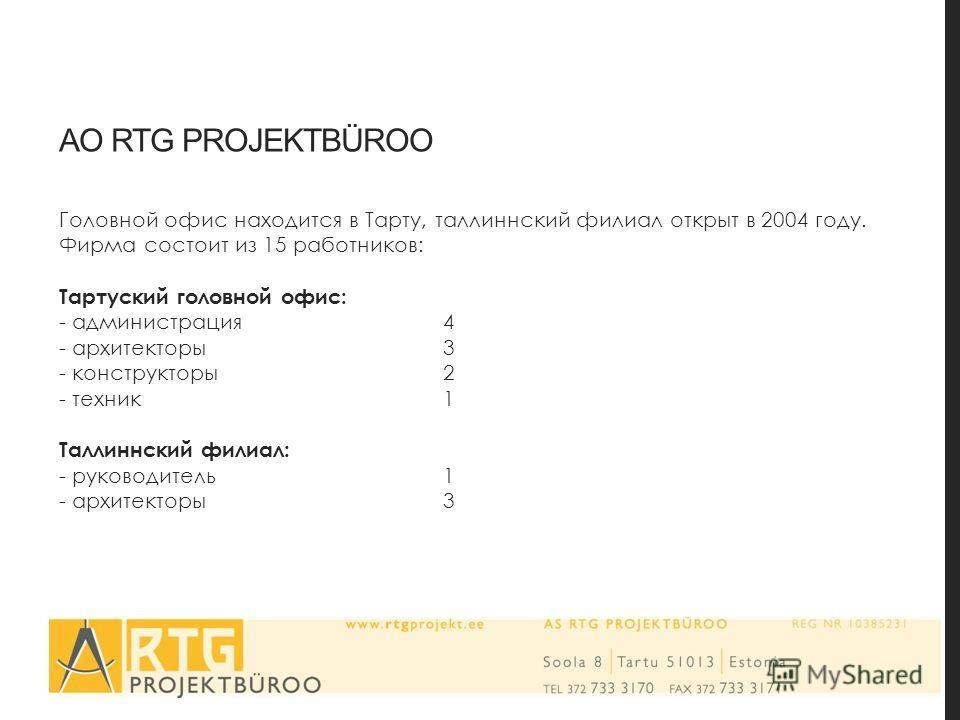 AO RTG PROJEKTBÜROO Головной офис находится в Тарту, таллиннский филиал открыт в 2004 году. Фирма состоит из 15 работников: Тартуский головной офис: - администрация 4 - архитекторы3 - конструкторы2 - техник1 Таллиннский филиал: - руководитель1 - архи