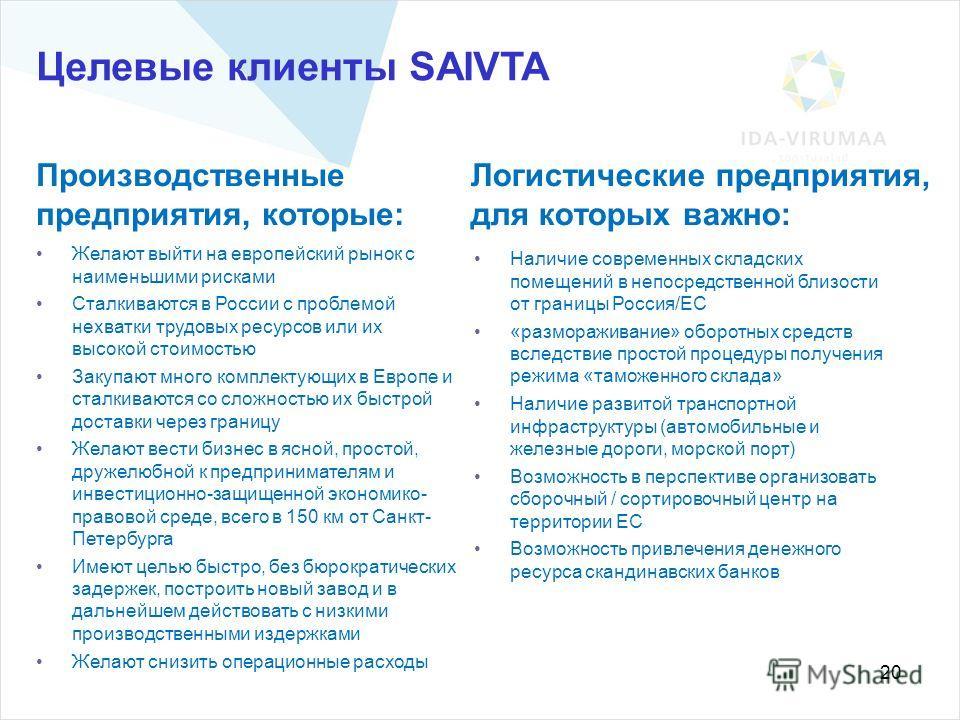 20 Целевые клиенты SAIVTA Желают выйти на европейский рынок с наименьшими рисками Сталкиваются в России с проблемой нехватки трудовых ресурсов или их высокой стоимостью Закупают много комплектующих в Европе и сталкиваются со сложностью их быстрой дос