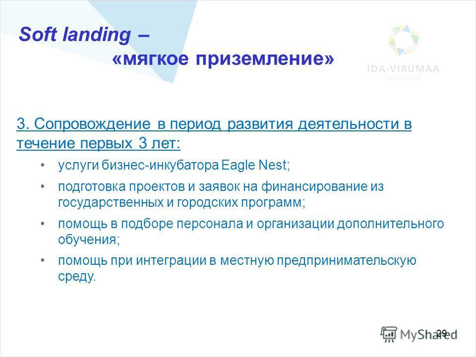 29 Soft landing – «мягкое приземление» 3. Сопровождение в период развития деятельности в течение первых 3 лет: услуги бизнес-инкубатора Eagle Nest; подготовка проектов и заявок на финансирование из государственных и городских программ; помощь в подбо