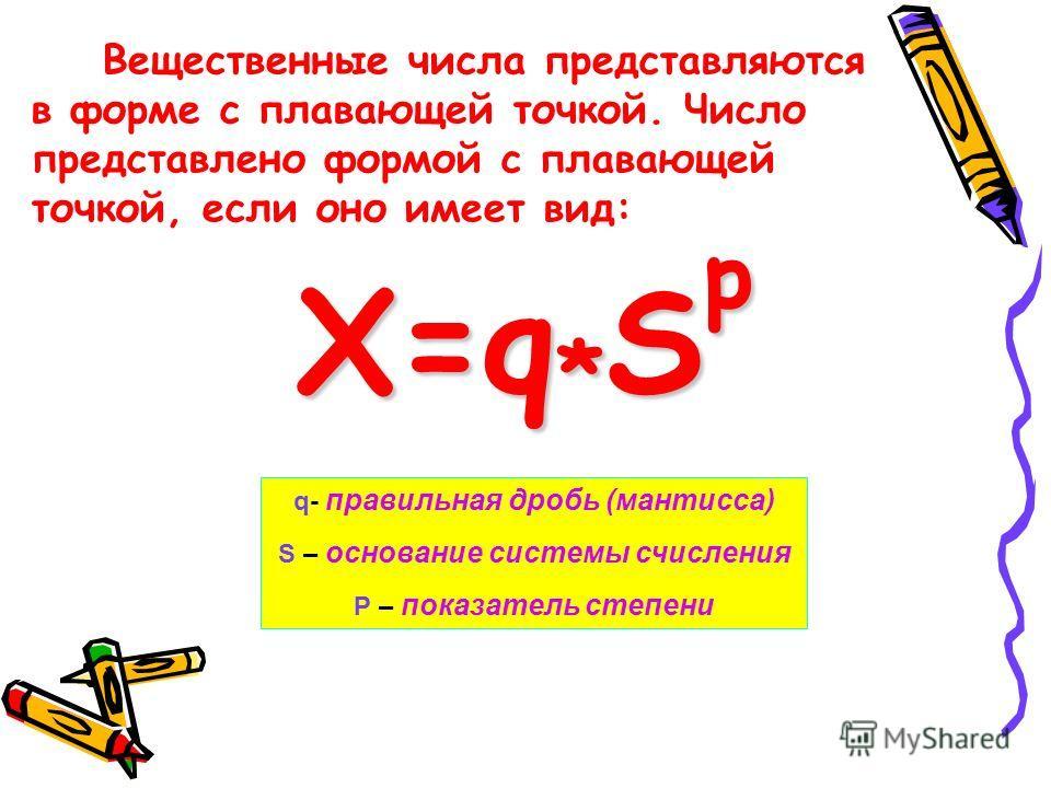 q- правильная дробь (мантисса) S – основание системы счисления P – показатель степени Вещественные числа представляются в форме с плавающей точкой. Число представлено формой с плавающей точкой, если оно имеет вид: X=q*Sp