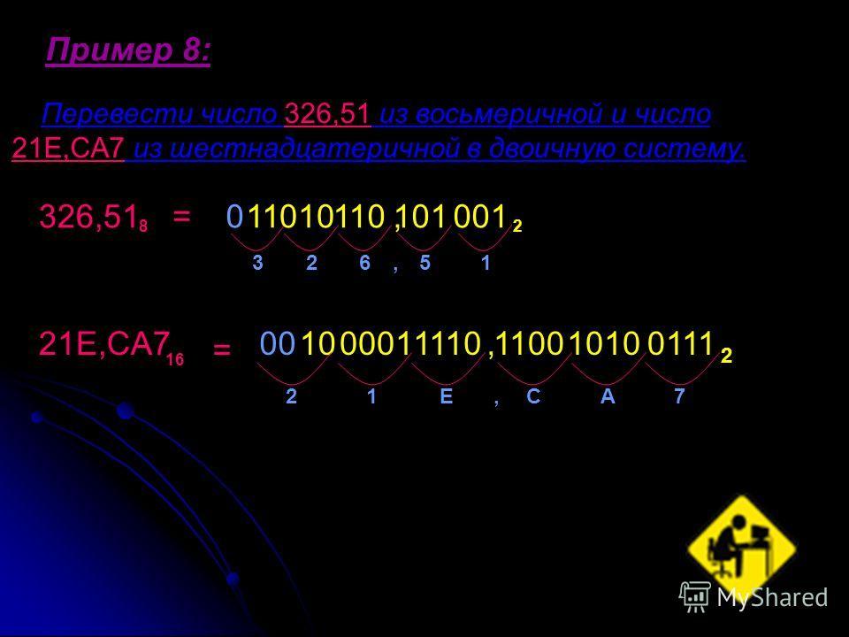 Пример 8: Перевести число 326,51 из восьмеричной и число 21E,CA7 из шестнадцатеричной в двоичную систему. 326,51 8 =110 2 21E,CA7 16 32651 = 1000 21ECA7 2,, 010110,101001 00011110,110010100111
