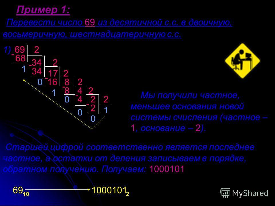 Перевести число 69 из десятичной с.с. в двоичную, восьмеричную, шестнадцатеричную с.с. Пример 1: 69 Мы получили частное, меньшее основания новой системы счисления (частное – 1, основание – 2). Старшей цифрой соответственно является последнее частное,