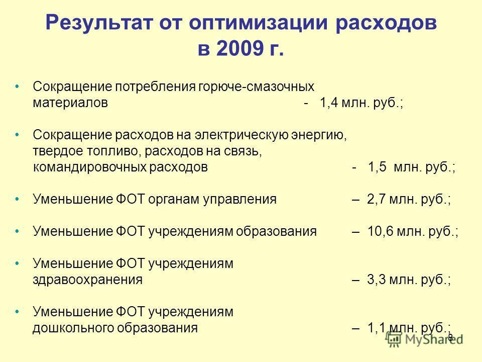 8 Результат от оптимизации расходов в 2009 г. Сокращение потребления горюче-смазочных материалов - 1,4 млн. руб.; Сокращение расходов на электрическую энергию, твердое топливо, расходов на связь, командировочных расходов - 1,5 млн. руб.; Уменьшение Ф