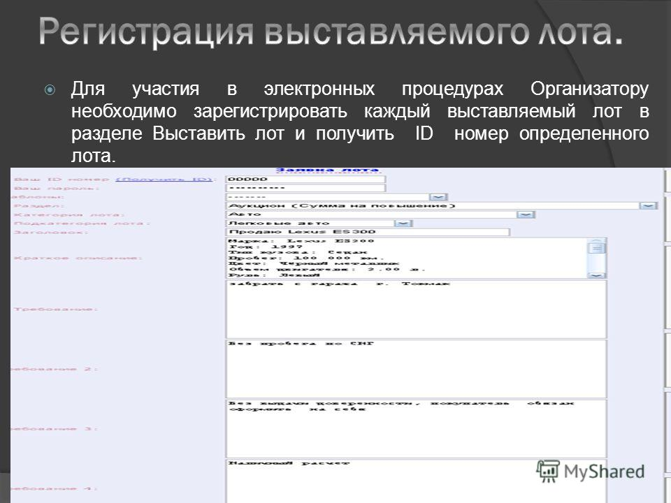 Для участия в электронных процедурах Организатору необходимо зарегистрировать каждый выставляемый лот в разделе Выставить лот и получить ID номер определенного лота.