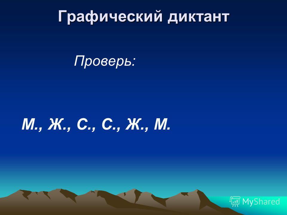 Графический диктант Проверь: М., Ж., С., С., Ж., М.