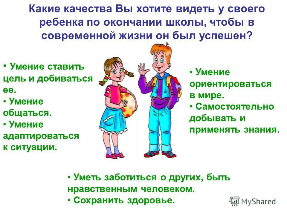 Какие качества Вы хотите видеть у своего ребенка по окончании школы, чтобы в современной жизни он был успешен? Умение ставить цель и добиваться ее. Умение общаться. Умение адаптироваться к ситуации. Умение ориентироваться в мире. Самостоятельно добыв