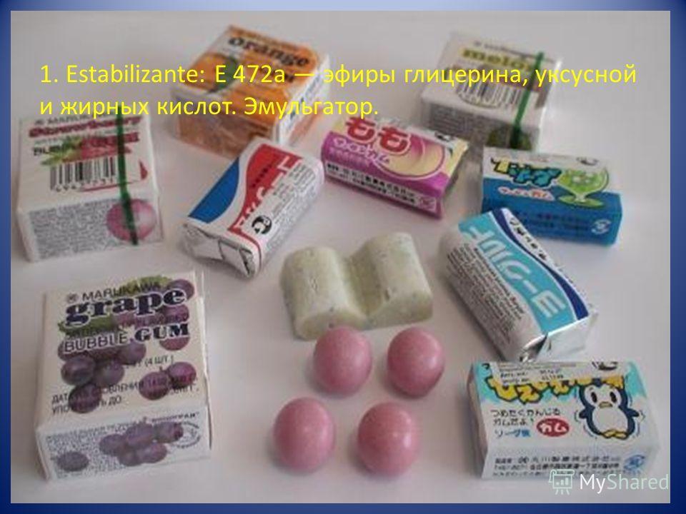 1. Estabilizante: E 472a эфиры глицерина, уксусной и жирных кислот. Эмульгатор.
