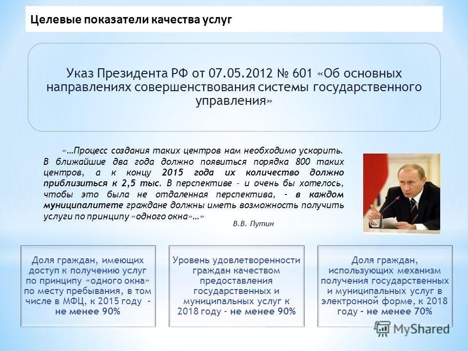 Целевые показатели качества услуг В.В. Путин «…Процесс создания таких центров нам необходимо ускорить. В ближайшие два года должно появиться порядка 800 таких центров, а к концу 2015 года их количество должно приблизиться к 2,5 тыс. В перспективе – и
