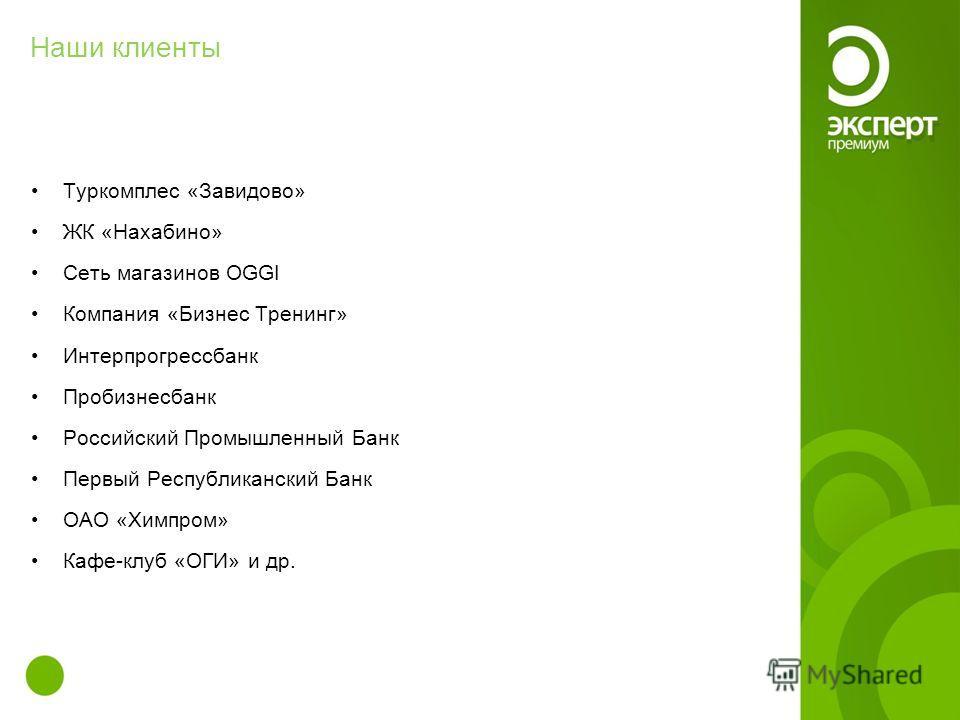 Наши клиенты Туркомплес «Завидово» ЖК «Нахабино» Сеть магазинов OGGI Компания «Бизнес Тренинг» Интерпрогрессбанк Пробизнесбанк Российский Промышленный Банк Первый Республиканский Банк ОАО «Химпром» Кафе-клуб «ОГИ» и др.