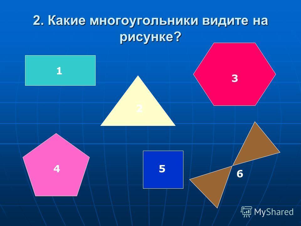2. Какие многоугольники видите на рисунке? 1 2 3 45 6