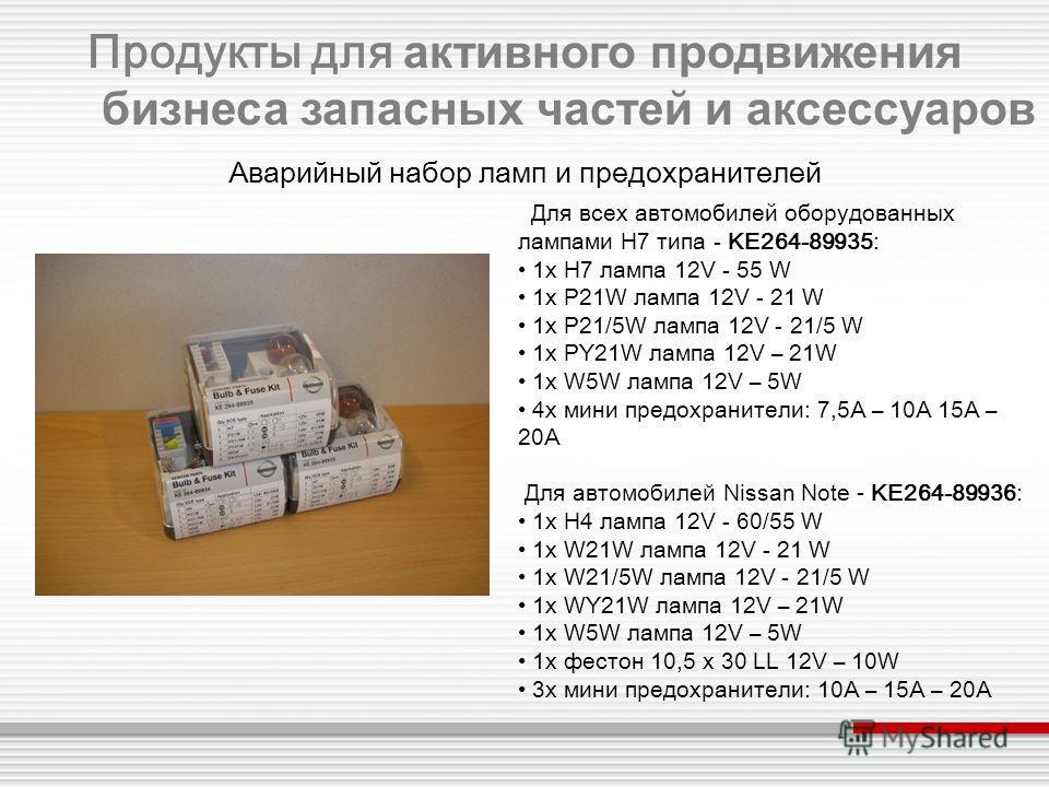 Для всех автомобилей оборудованных лампами H7 типа - KE264-89935: 1x H7 лампа 12V - 55 W 1x P21W лампа 12V - 21 W 1x P21/5W лампа 12V - 21/5 W 1x PY21W лампа 12V – 21W 1x W5W лампа 12V – 5W 4x мини предохранители: 7,5A – 10A 15A – 20A Для автомобилей