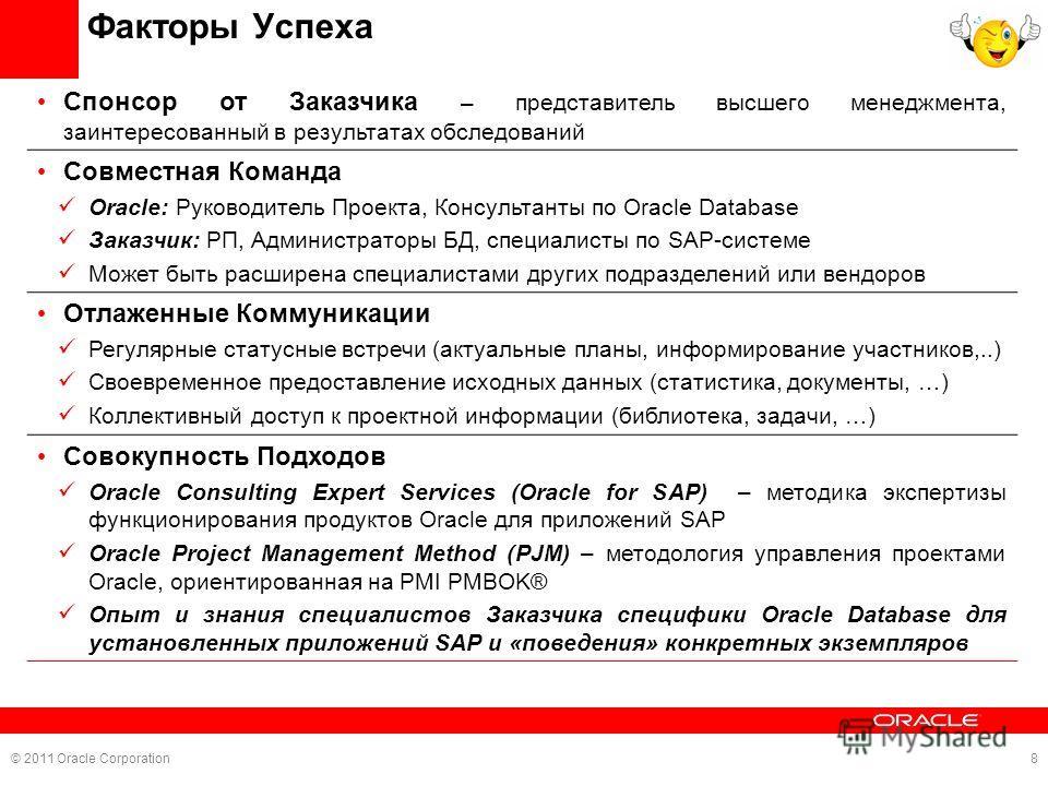 © 2011 Oracle Corporation8 Факторы Успеха Спонсор от Заказчика – представитель высшего менеджмента, заинтересованный в результатах обследований Совместная Команда Oracle: Руководитель Проекта, Консультанты по Oracle Database Заказчик: РП, Администрат