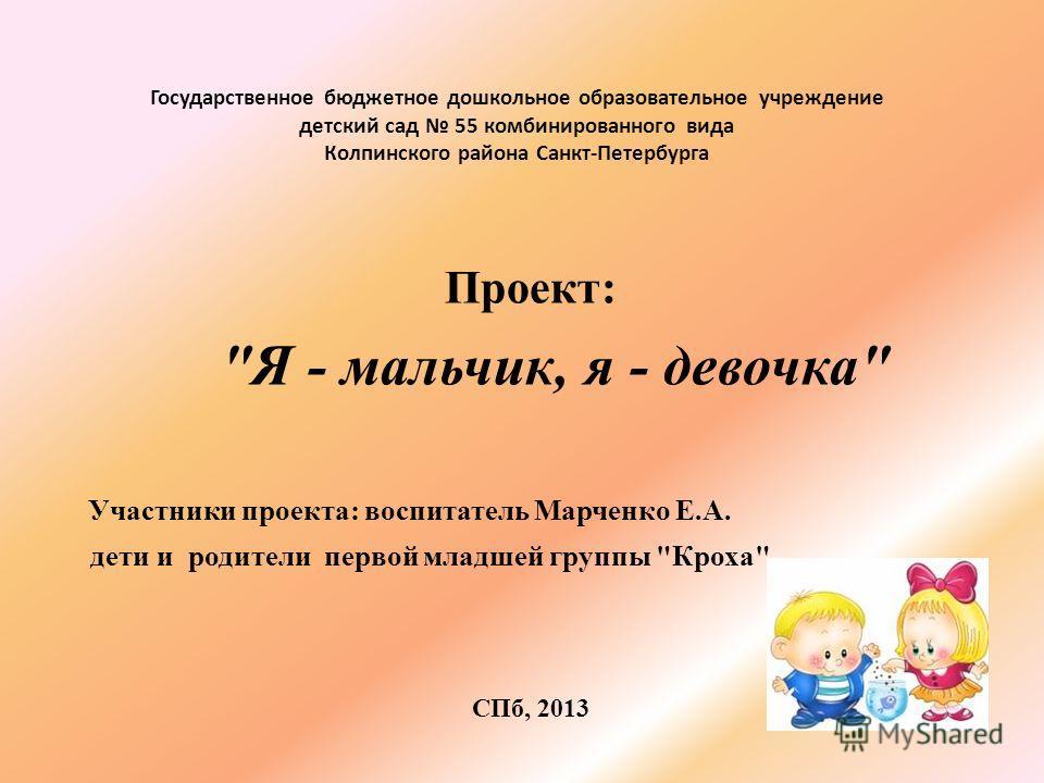 Государственное бюджетное дошкольное образовательное учреждение детский сад 55 комбинированного вида Колпинского района Санкт-Петербурга Проект: