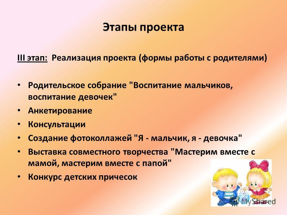 Этапы проекта III этап: Реализация проекта (формы работы с родителями) Родительское собрание