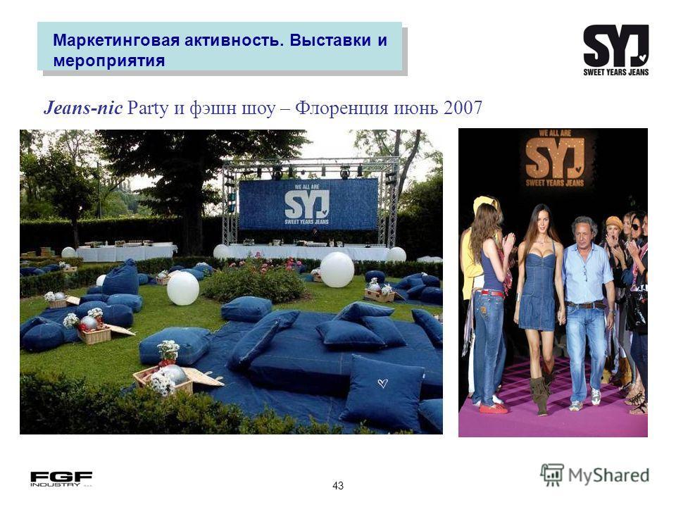 43 Маркетинговая активность. Выставки и мероприятия Jeans-nic Party и фэшн шоу – Флоренция июнь 2007
