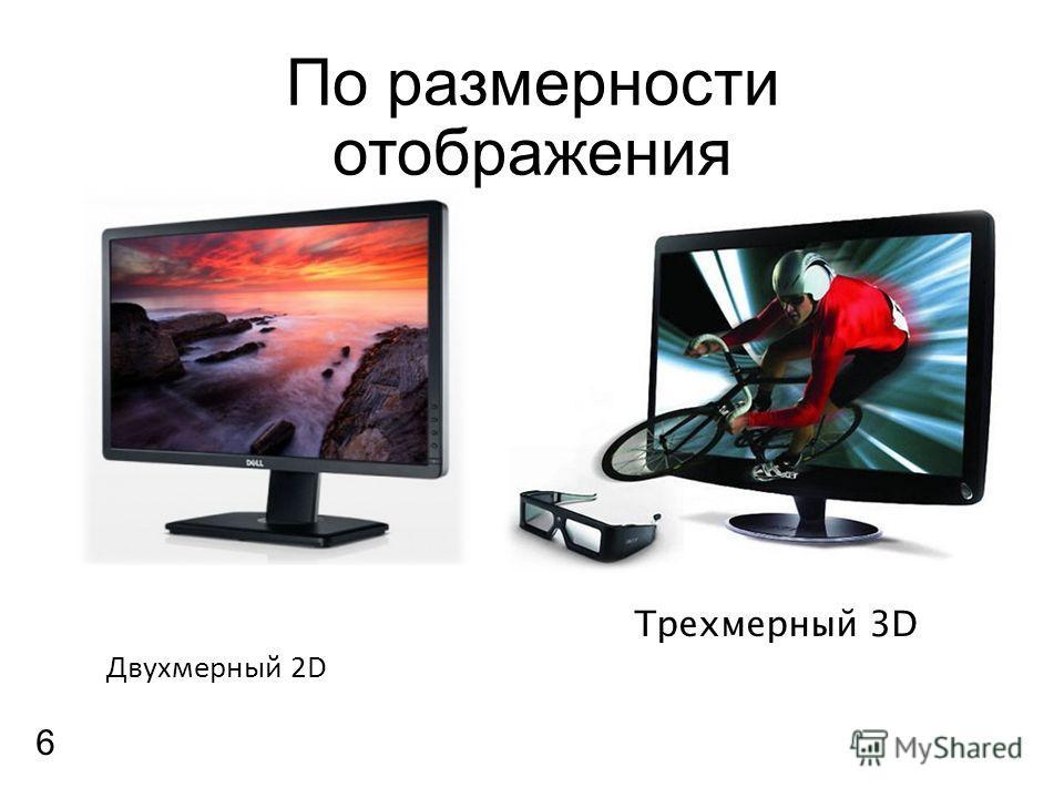 По размерности отображения Двухмерный 2D Трехмерный 3D 6