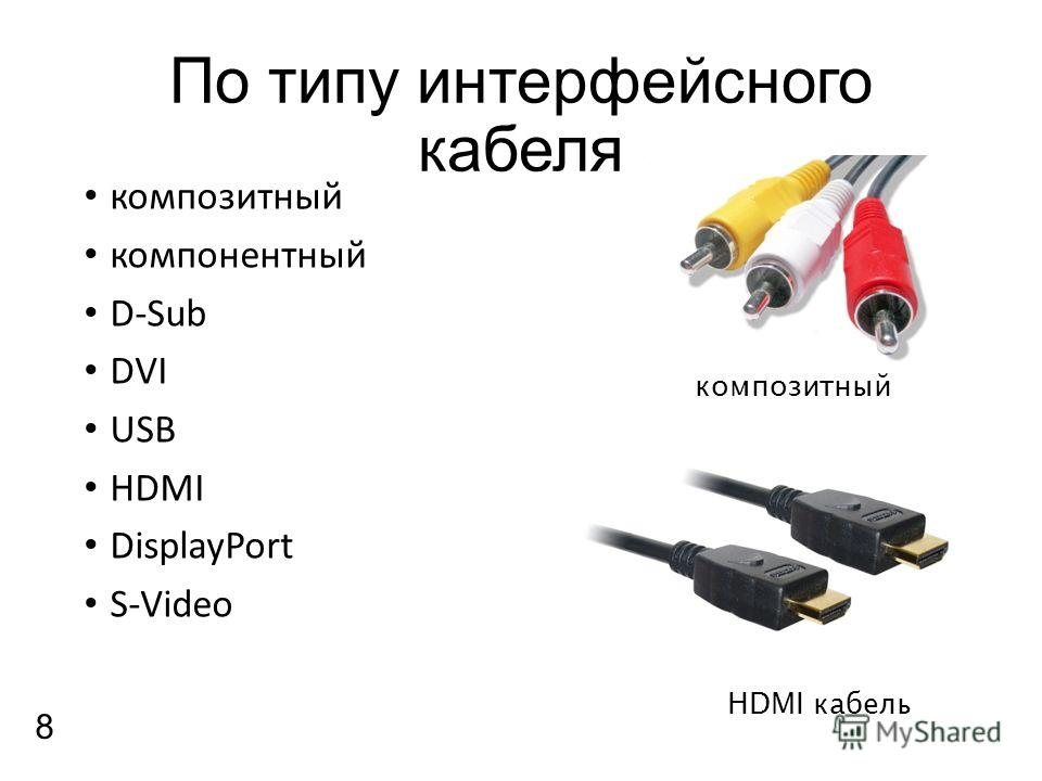 По типу интерфейсного кабеля композитный компонентный D-Sub DVI USB HDMI DisplayPort S-Video HDMI кабель композитный 8