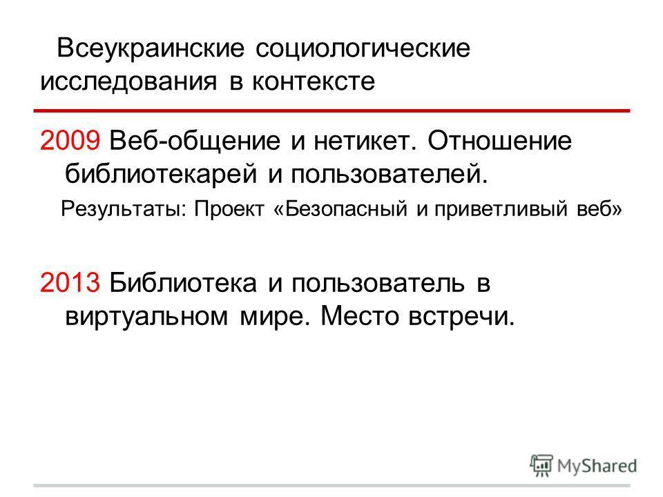 Всеукраинские социологические исследования в контексте 2009 Веб-общение и нетикет. Отношение библиотекарей и пользователей. Результаты: Проект «Безопасный и приветливый веб» 2013 Библиотека и пользователь в виртуальном мире. Место встречи.