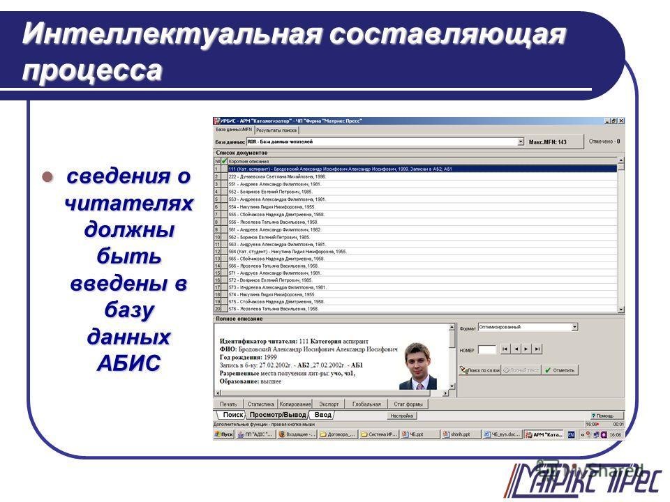 Интеллектуальная составляющая процесса сведения о читателях должны быть введены в базу данных АБИС сведения о читателях должны быть введены в базу данных АБИС