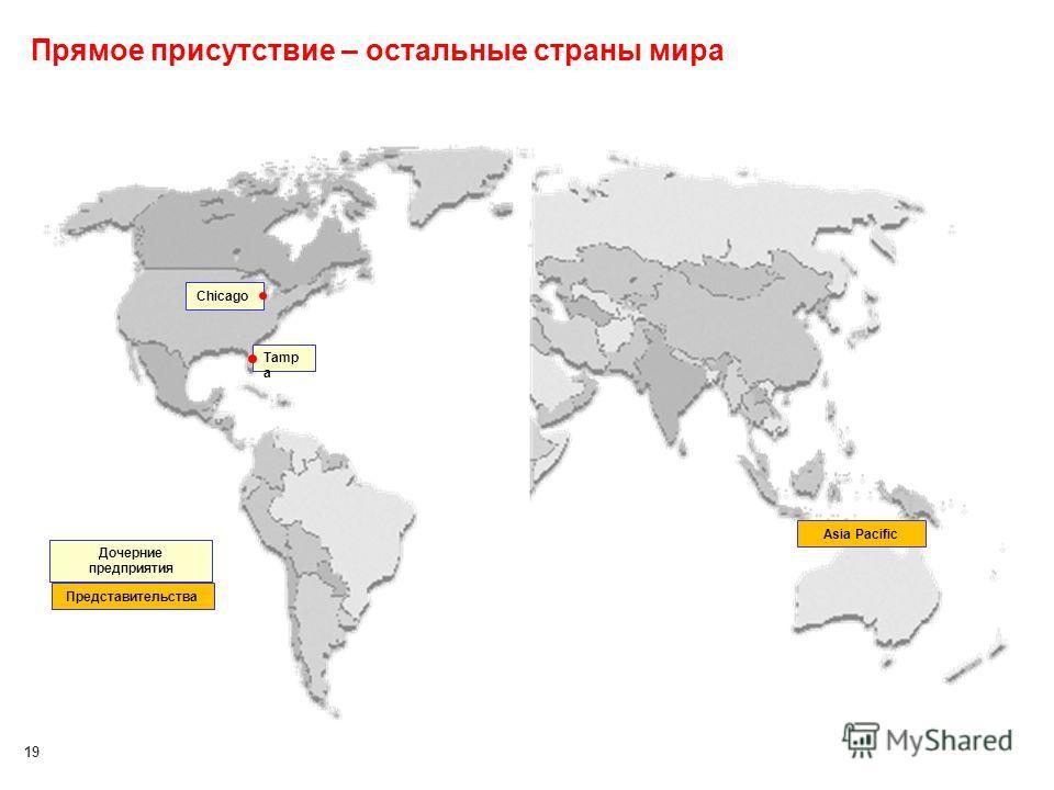 19 Прямое присутствие – остальные страны мира Tamp a Chicago Asia Pacific Дочерние предприятия Представительства