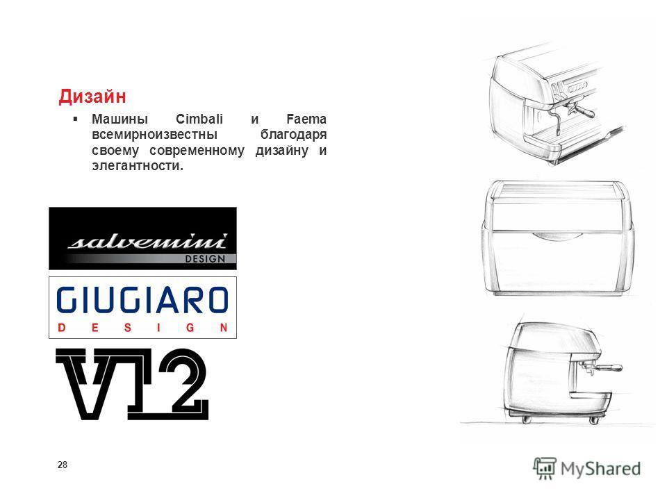 28 Дизайн Машины Cimbali и Faema всемирноизвестны благодаря своему современному дизайну и элегантности.