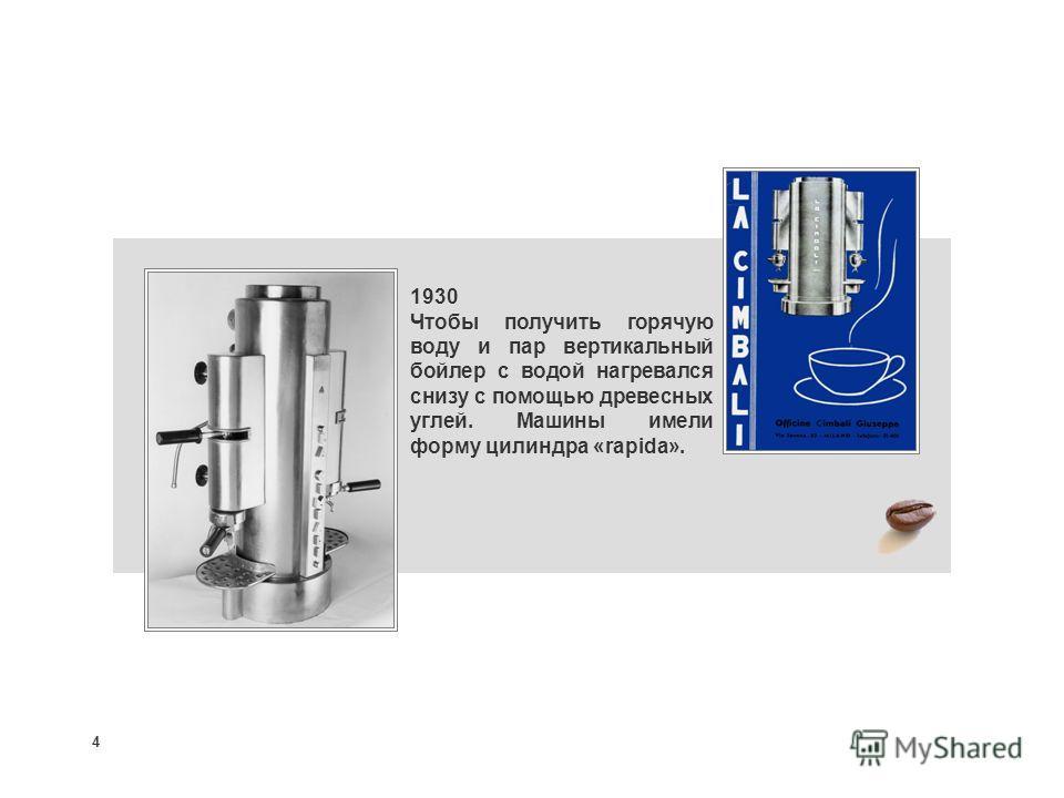 4 1930 Чтобы получить горячую воду и пар вертикальный бойлер с водой нагревался снизу с помощью древесных углей. Машины имели форму цилиндра «rapida».