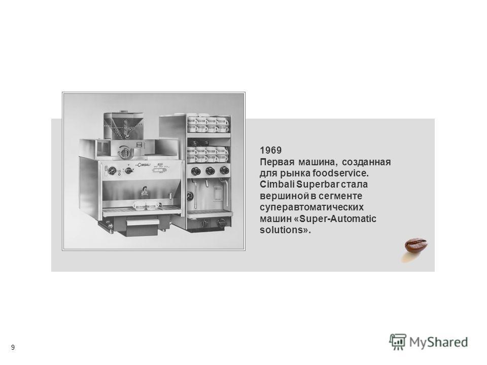 9 1969 Первая машина, созданная для рынка foodservice. Cimbali Superbar стала вершиной в сегменте суперавтоматических машин «Super-Automatic solutions».