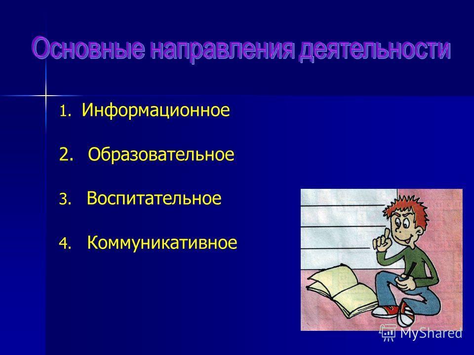 1. Информационное 2. Образовательное 3. Воспитательное 4. Коммуникативное