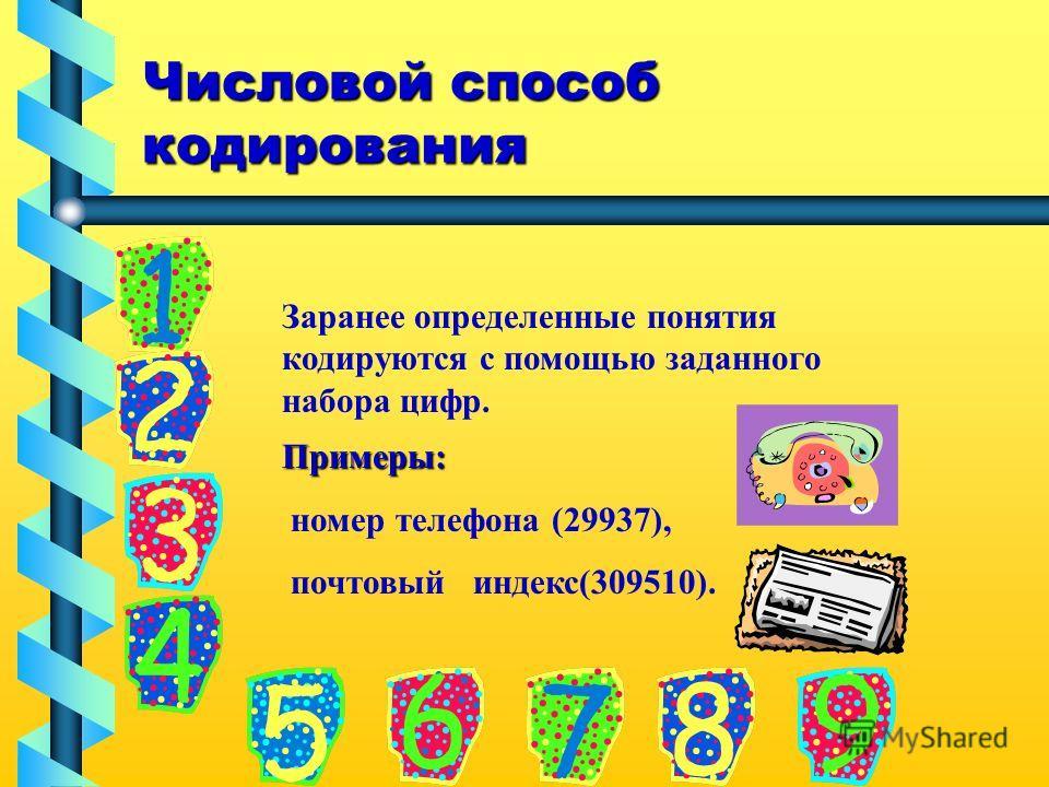 Числовой способ кодирования Заранее определенные понятия кодируются с помощью заданного набора цифр. Примеры: номер телефона (29937), почтовый индекс(309510).