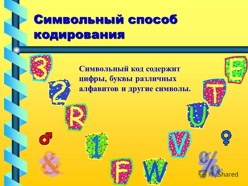 Символьный способ кодирования Символьный код содержит цифры, буквы различных алфавитов и другие символы.