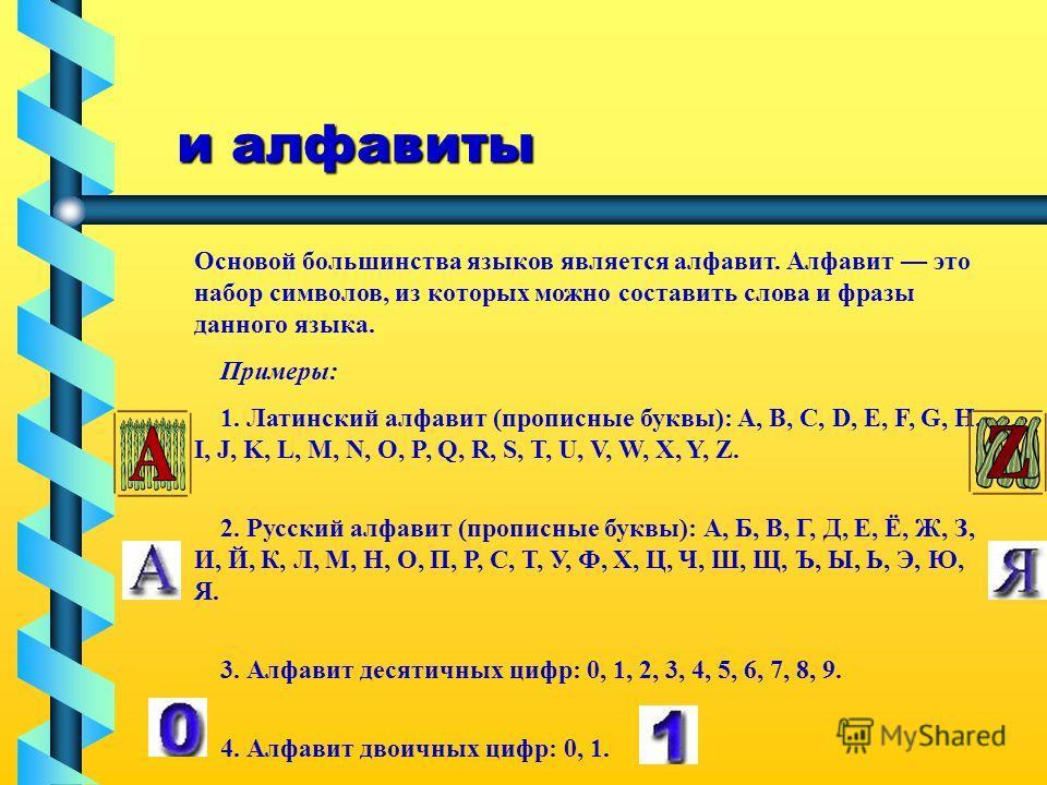 и алфавиты и алфавиты Основой большинства языков является алфавит. Алфавит это набор символов, из которых можно составить слова и фразы данного языка. Примеры: 1. Латинский алфавит (прописные буквы): A, B, C, D, E, F, G, H, I, J, K, L, M, N, O, P, Q,