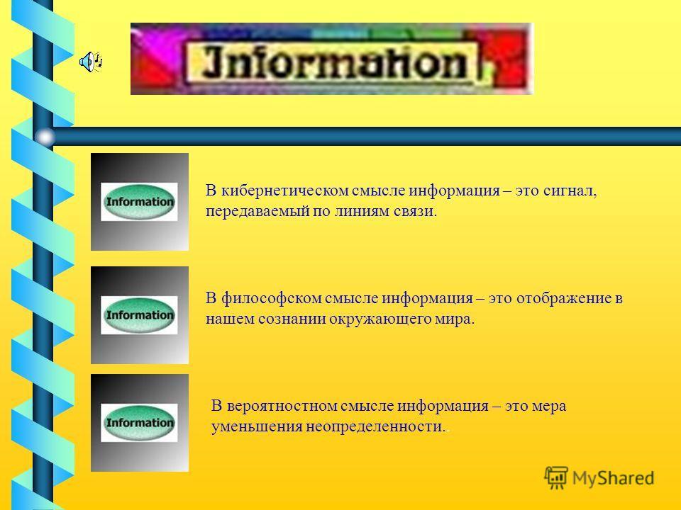В кибернетическом смысле информация – это сигнал, передаваемый по линиям связи. В философском смысле информация – это отображение в нашем сознании окружающего мира. В вероятностном смысле информация – это мера уменьшения неопределенности..
