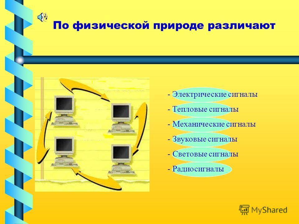 По физической природе различают - Электрические сигналы - Тепловые сигналы - Механические сигналы - Звуковые сигналы - Световые сигналы - Радиосигналы