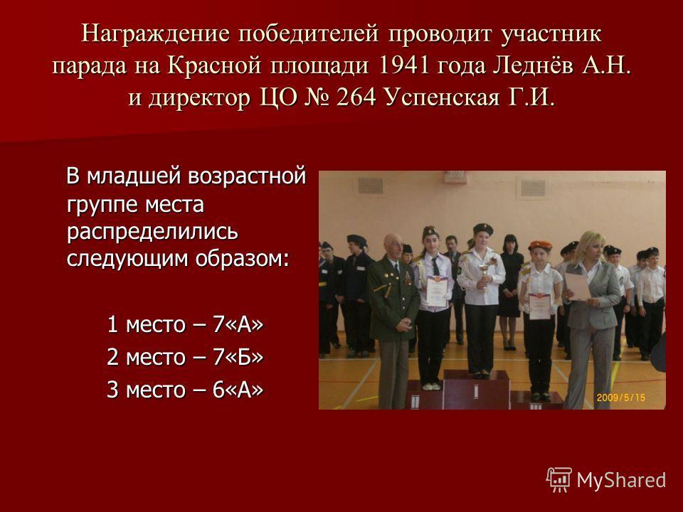 Награждение победителей проводит участник парада на Красной площади 1941 года Леднёв А.Н. и директор ЦО 264 Успенская Г.И. В младшей возрастной группе места распределились следующим образом: В младшей возрастной группе места распределились следующим