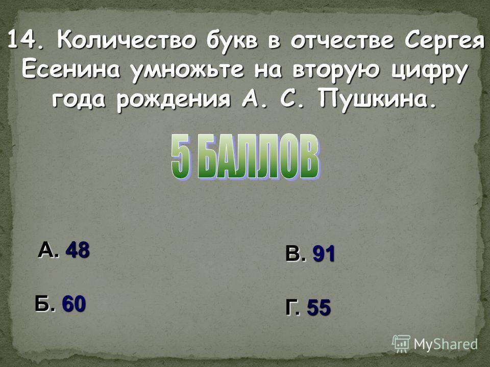 А. 48 В. 91 Б. 60 Г. 55 14. Количество букв в отчестве Сергея Есенина умножьте на вторую цифру года рождения А. С. Пушкина.