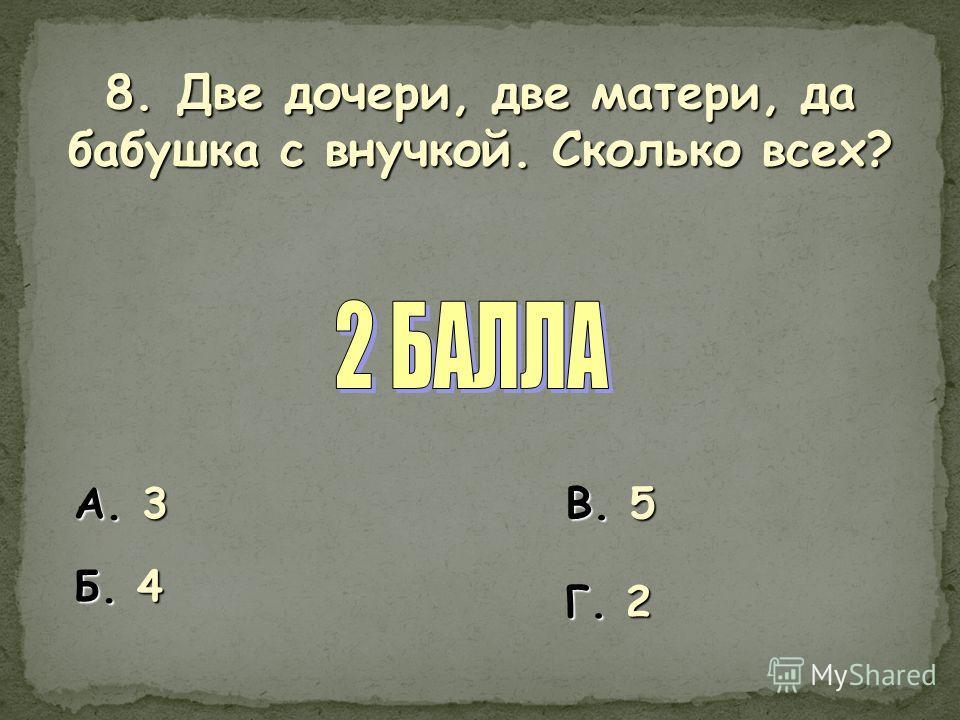 8. Две дочери, две матери, да бабушка с внучкой. Сколько всех? А. 3 Б. 4 В. 5 Г. 2
