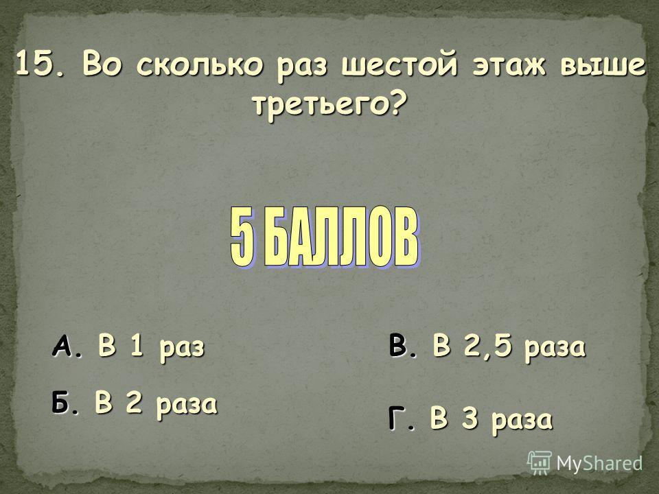 15. Во сколько раз шестой этаж выше третьего? А. В 1 раз Б. В 2 раза В. В 2,5 раза Г. В 3 раза
