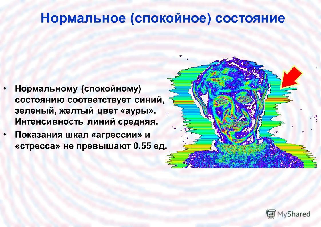 Нормальное (спокойное) состояние Нормальному (спокойному) состоянию соответствует синий, зеленый, желтый цвет «ауры». Интенсивность линий средняя. Показания шкал «агрессии» и «стресса» не превышают 0.55 ед.
