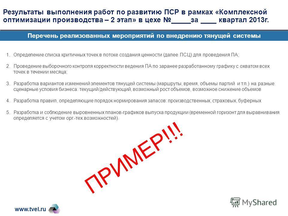 www.tvel.ru Результаты выполнения работ по развитию ПСР в рамках «Комплексной оптимизации производства – 2 этап» в цехе _____за ____ квартал 2013г. Перечень реализованных мероприятий по внедрению тянущей системы 1.Определение списка критичных точек в