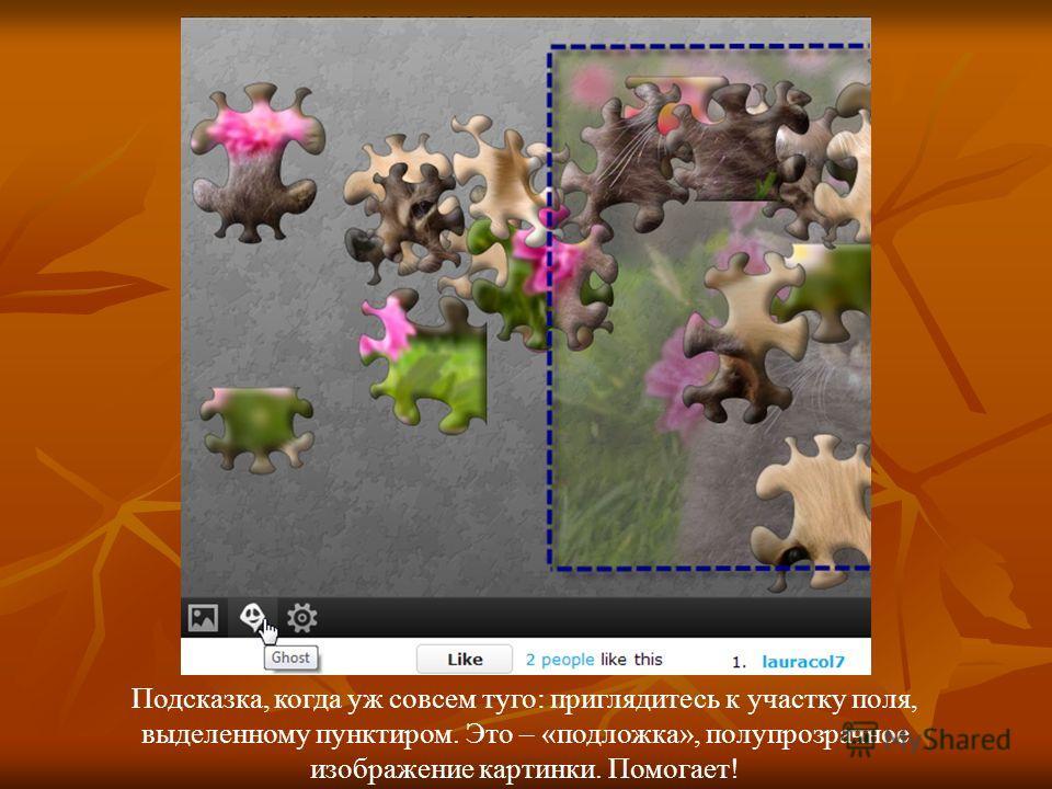 Подсказка, когда уж совсем туго: приглядитесь к участку поля, выделенному пунктиром. Это – «подложка», полупрозрачное изображение картинки. Помогает!