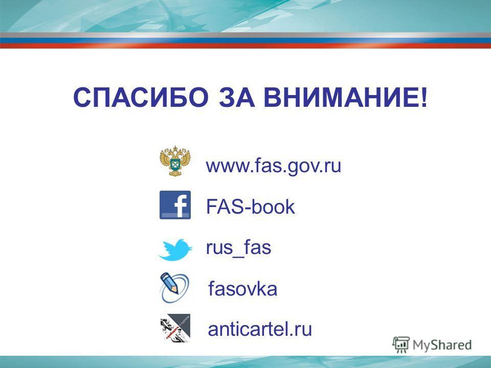 www.fas.gov.ru FAS-book rus_fas СПАСИБО ЗА ВНИМАНИЕ! fasovka anticartel.ru