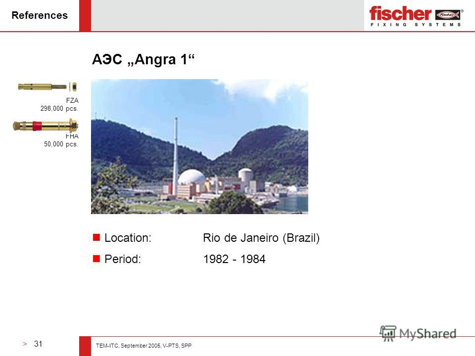 > 31 TEM-ITC, September 2005, V-PTS, SPP References АЭС Angra 1 n Location: Rio de Janeiro (Brazil) n Period: 1982 - 1984 FZA 298,000 pcs. FHA 50,000 pcs.