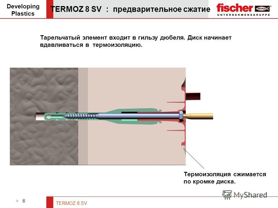 > 6 TERMOZ 8 SV TERMOZ 8 SV : предварительное сжатие Developing Plastics Тарельчатый элемент входит в гильзу дюбеля. Диск начинает вдавливаться в термоизоляцию. Термоизоляция сжимается по кромке диска.